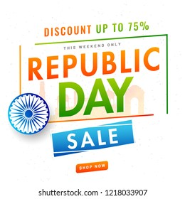 Website template or flyer design with 75% discount offer and Ashoka Wheel on white background for Republic Day celebration concept.