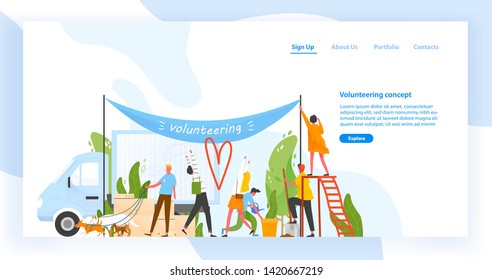 Website template with group of men and women volunteering, doing volunteer work or performing altruistic activities together. Modern flat vector illustration for charity organization advertisement.