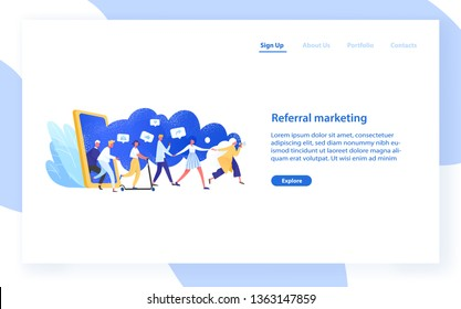 Website template with group of people or customers holding hands and walking out of giant smartphone. Referral marketing or Refer A Friend loyalty program. Modern flat colorful vector illustration.