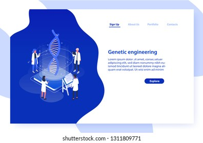 Website template with group of scientists or researchers analyzing DNA molecule. Genetic engineering, biotechnology and genome modification. Modern isometric vector illustration for advertisement.