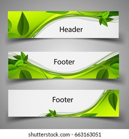 Website template header and footer - Green nature leaves