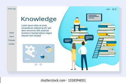Website template of knowledge concept, modern flat design vector illustration, for graphic and web design