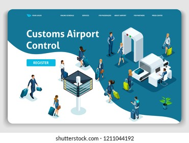 Website Template Landing page Isometric concept International Airport, Customs Airport Control, business trip. Easy to edit and customize.