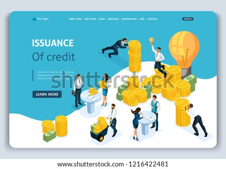 Website Template Landing Page Isometric Concept Stock Vector