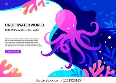 Website Template Landing page Octopus, coral and colorful reefs and algae. Vector illustration of sea landscape