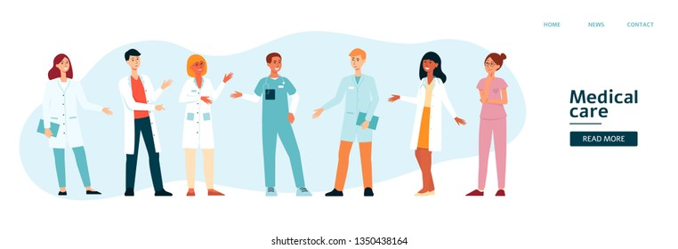 Website template with medical team cartoon style, vector illustration isolated on blue background. Banner for landing page with group of hospital doctors and nurses