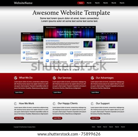 website template metallic red white black stock vector royalty free