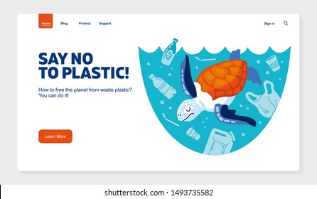 Website template No plastic! Vector flat illustration for World Environment Day. A sea turtle swims in sea with garbage - in water are plastic bag, glass, straw, bottle, canisters. Harm to nature.