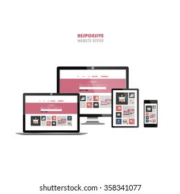 Website Template on Smart phone, laptop, tablet, and flat screen.
