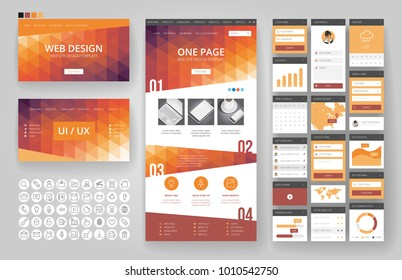 Website template, one page design, headers and interface elements. Low poly abstract backgrounds.