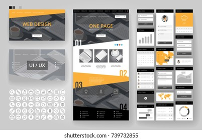 Website template, one page design, headers and interface elements. Office stationery background.