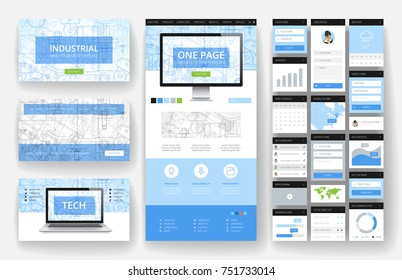 Website template, one page design, headers and interface elements. Industrial blueprint backgrounds.