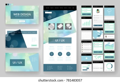 Website template, one page design, headers and interface elements. Bokeh defocused backgrounds.