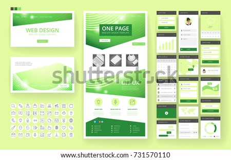 website template one page design headers stock vector royalty free