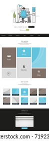 Website Template: One Page Flat Design Style Vector Illustration.