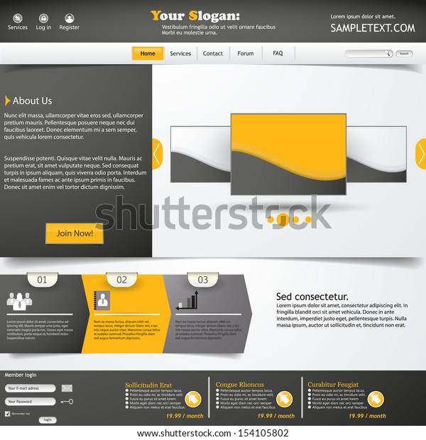 Website Template Orange Grey Color Stock Vector (Royalty