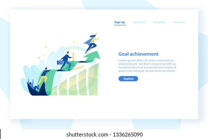 Website template with people, office workers, managers or clerks climbing on ascending graph or trend. Business goal achievement, career growth and development. Flat colorful vector illustration.