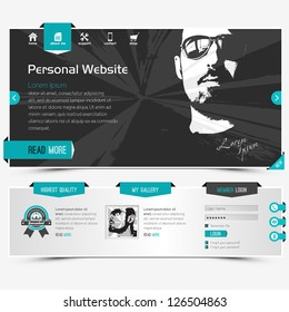 website template for personal profile, contains textured labels, buttons and two sample vector portraits