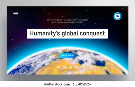 Website template. Planet Earth with an atmosphere on the background of stars