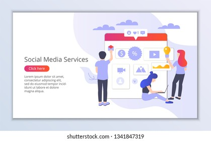 Website template of social media services, flat design vector illustration, for graphic and web design