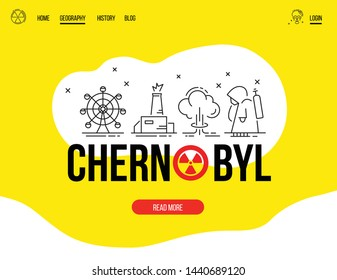 Website template. Vector illustration.Concepts thin line of Chernobyl.