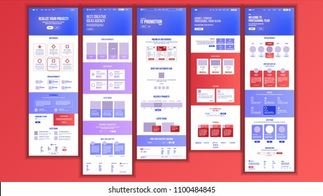 Website Template Vector. Page Business Landing. Shopping Online Web Page. People Environment. Creativity Construction. Responsive Design Interface. Brainstorming Communication. Illustration