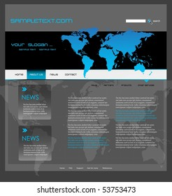 Website template with world map, easily editable, vector