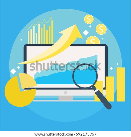 website traffic growth banner computer diagrams stock vectorwebsite traffic growth banner computer with diagrams, growth charts magnifying glass vector flat illustration vector