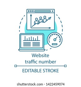Website traffic number blue concept icon. Digital marketing benefit idea thin line illustration. Webpage visitor. Internet site popularity measurement. Vector isolated outline drawing. Editable stroke