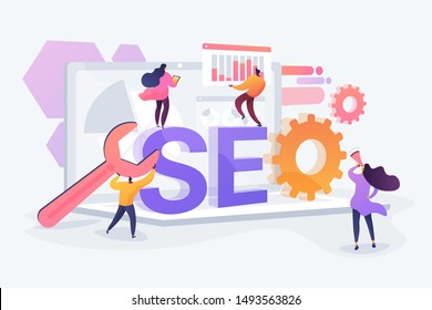 Website traffic, web page visibility. Marketers team creating digital advertising characters. Search engines, online marketing, seo tools concept. Vector isolated concept creative illustration