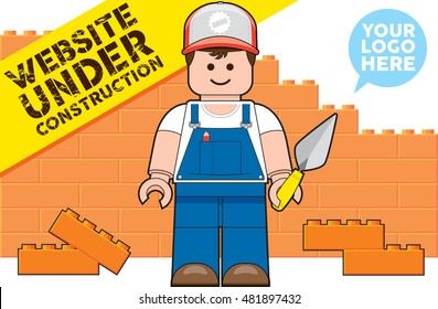 Website Under Construction Cartoon Vector Illustration
