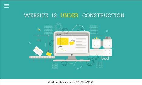 Website is under construction.  Design concept of maintenance page or 404 error. Vector template. Design for websites.