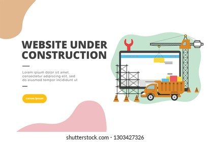 Website Under Construction flat design banner illustration concept for digital marketing and business promotion