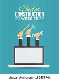 Website Under Construction Flat Vector Template