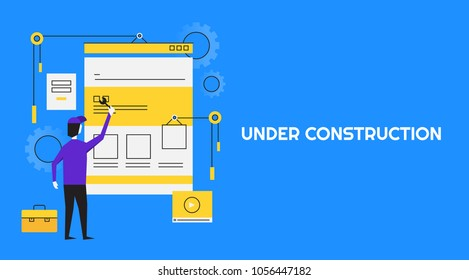 Website Under Construction - Man working - Maintenance - Redesign Flat line vector banner isolated on blue background