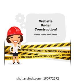 Website Under Construction Message. In the EPS file, each element is grouped separately. Isolated on white background.