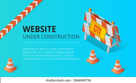 Website under construction page background vector illustration. Flat isometric style vector illustration.