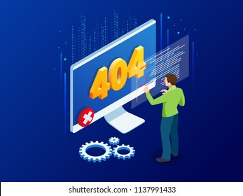 Website under construction page. Isometric error 404 page layout vector design. Website 404 page creative concept. The page you requested could not be found.