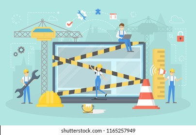 Website under construction page. Work in progress. Small people repare home page in the internet. Flat vector illustration