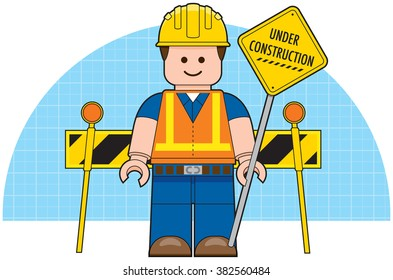 Website Under Construction Sign - Cartoon Worker Vector Illustration
