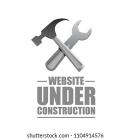 website under construction sign. Vector Illustration. isolated over a white background