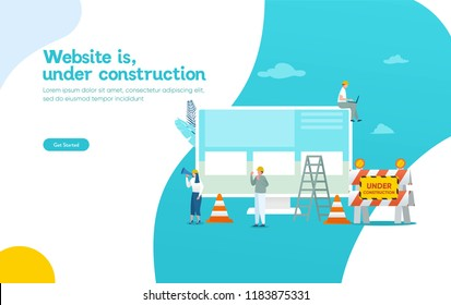 Website is under construction vector illustration concept, developer fixing website can use for, landing page, template, ui, web, mobile app, poster, banner, flyer