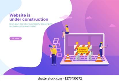 Website is under construction vector illustration concept, developer fixing website, sytem update server can use for, landing page, template, ui, web, mobile app, poster, banner, flyer