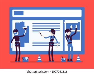 Website under construction. Workers in uniform recovering web site with error message connection, file is not found information. Vector illustration with faceless characters
