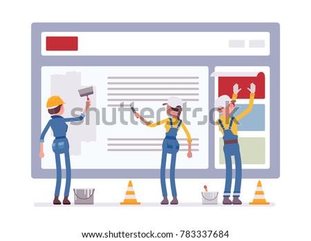 Website Under Construction Workers Uniform Recovering Stock Vector