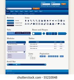 Website Web Design Elements Blue Theme Vector