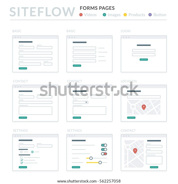 Website Wireframe Layouts Ui Kits Site Stock Vector (Royalty