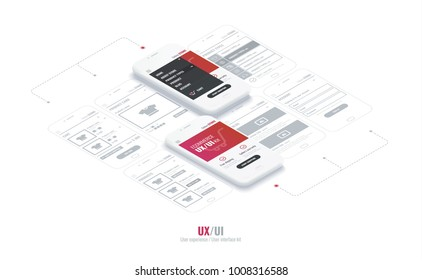 Website wireframe for mobile apps with link . A conceptual mobile phones with a mobile app page. User experience, user interface kit in e-commerce.