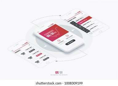 Website wireframe for mobile apps with round arrows . A conceptual mobile phones with a mobile app page. User experience, user interface in e-commerce.