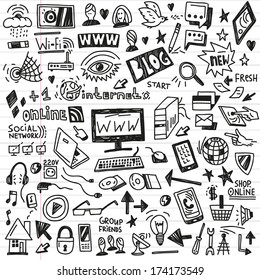 web,social media, devices -  doodles set